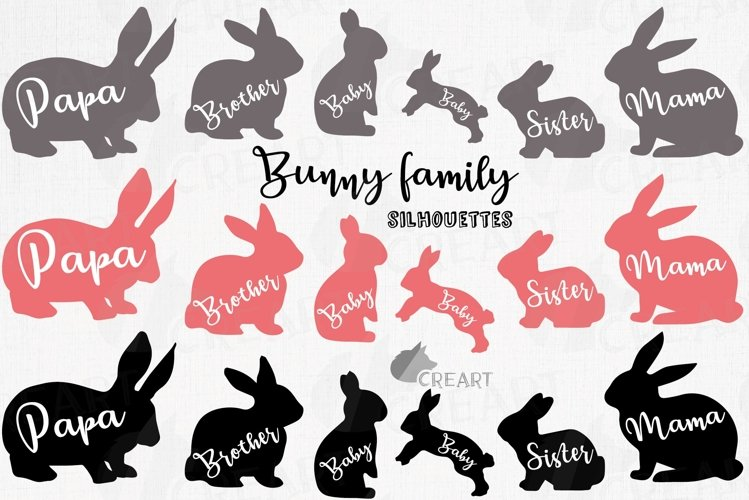 Bunny family silhouettes, pink and blush rabbit Easter decor example image 1