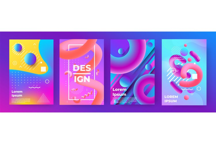 Abstract poster. Memphis geometric banners with minimal grad example image 1