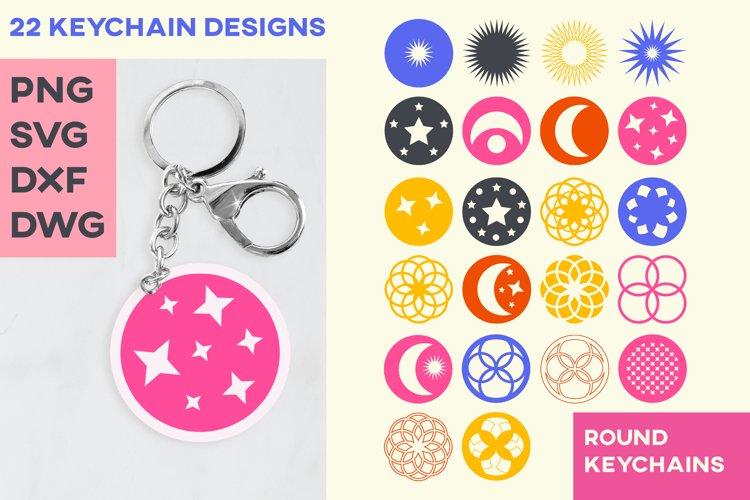 Keyring Sublimation Pattern Keychain Cut File Moon Stars SVG