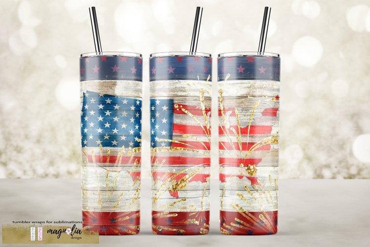 Patriotic tumbler design USA flag sublimate tumbler example image 1