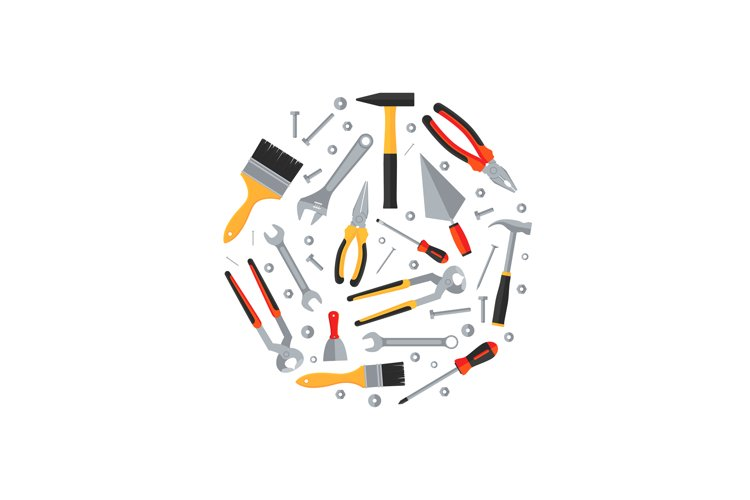 Repair and construction tools flat icons round concept example image 1