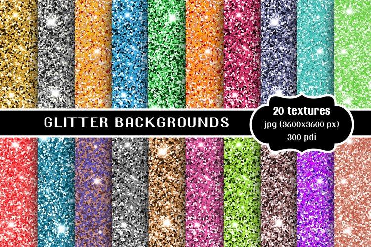 Glitter backgrounds set, textures bundle