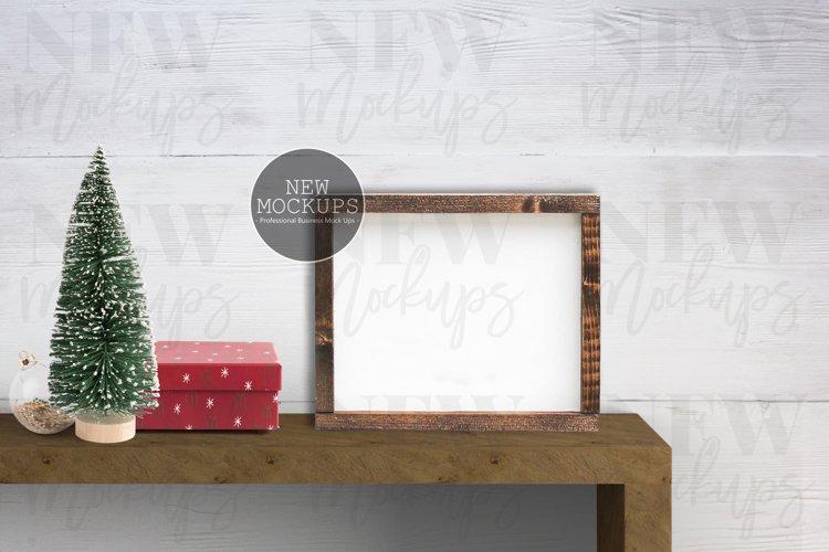 Wood Sign 8x10 Christmas Mockup, Horizontal Farmhouse Photo example image 1