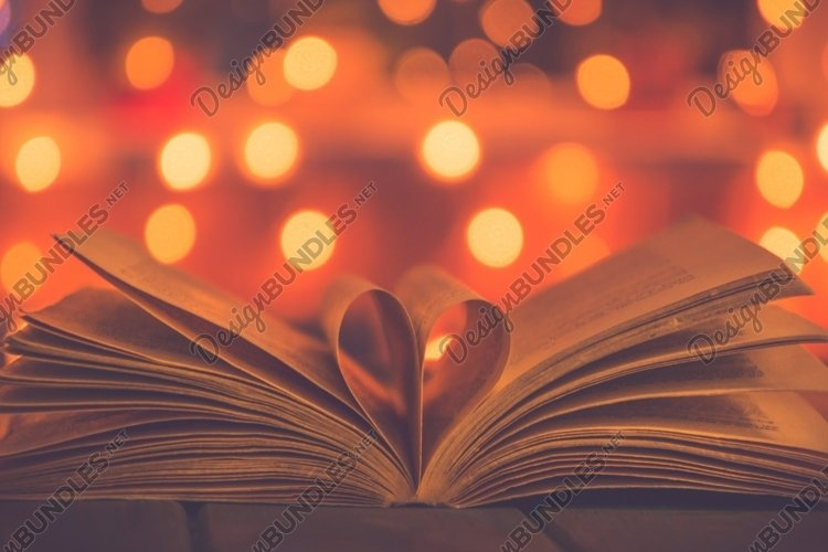 Valentine's Day Vintage Card. Romantic book and light bulb example image 1