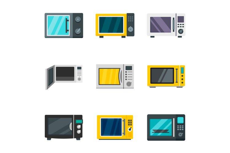 Microwave icon set, flat style example image 1