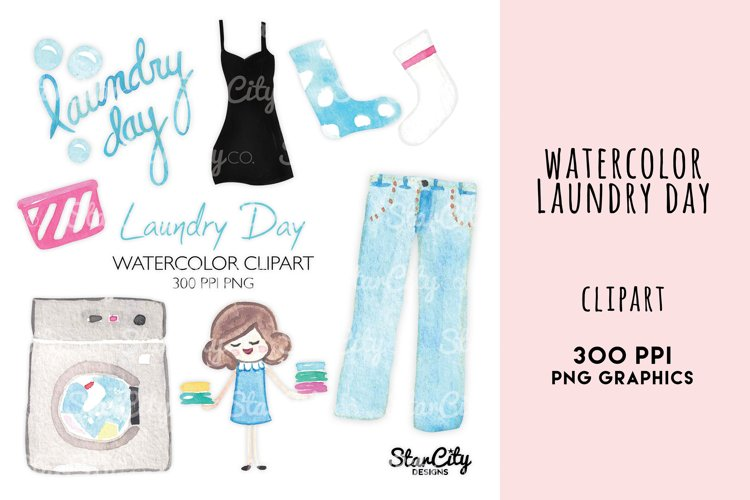 Watercolor Laundry Clipart, Washing Machine, Blue Jeans