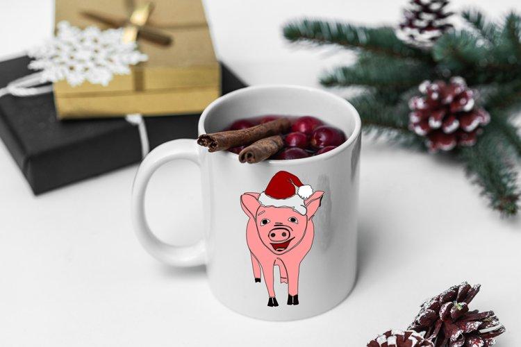 New Year Pig, Christmas Pig, Santa SVG, DXF, EPS cricut example image 1