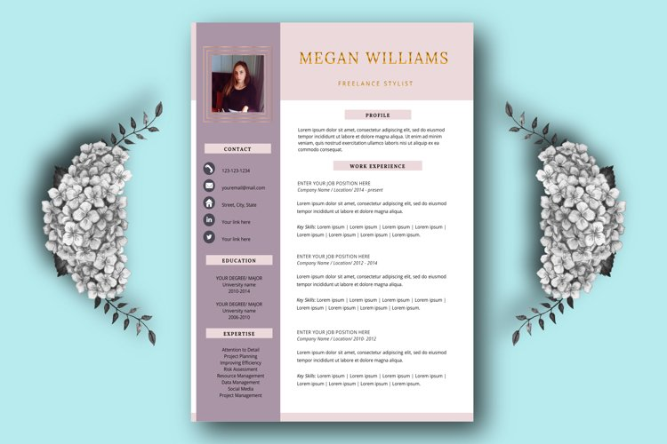 Creative resume template for Word and Pages example image 1