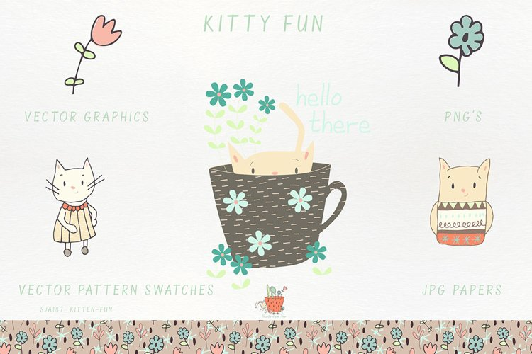Kitty Fun Vector Swatches Patterns - Free Design of The Week Font