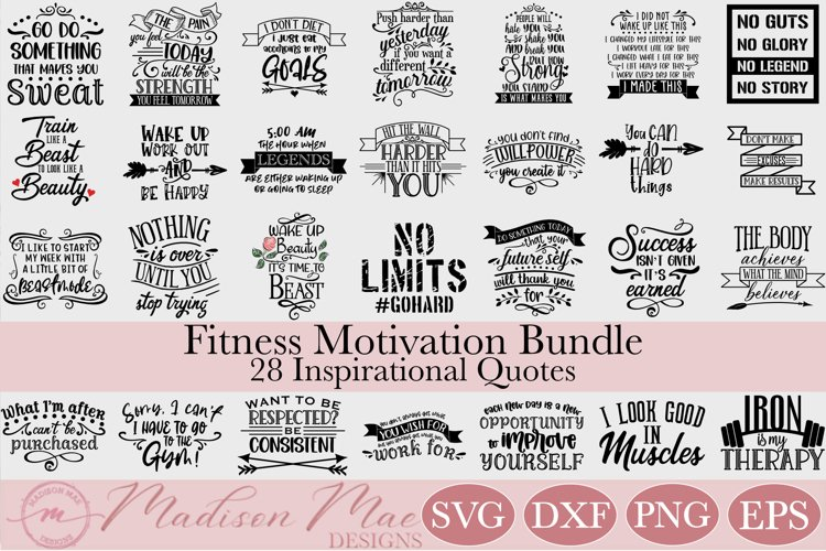 Fitness Motivation SVG Bundle - 28 Inspirational Quotes example image 1