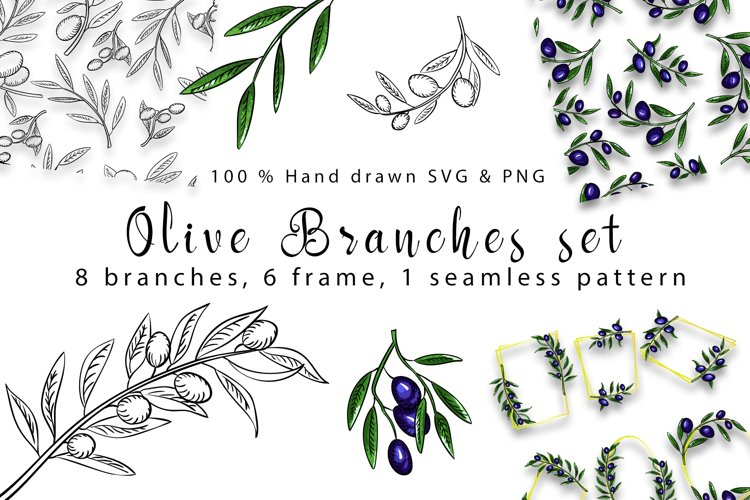 Olive branches set example image 1