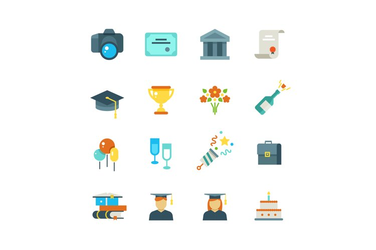 Graduate, student party college graduation vector flat icons