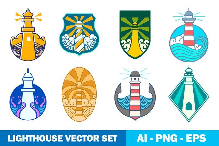 Lighthouse logo vector set.