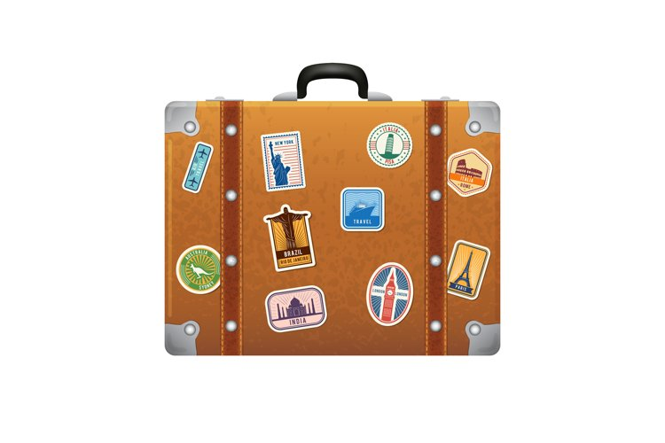 Travel stickers on retro leather suitcase. Vector labels set example image 1