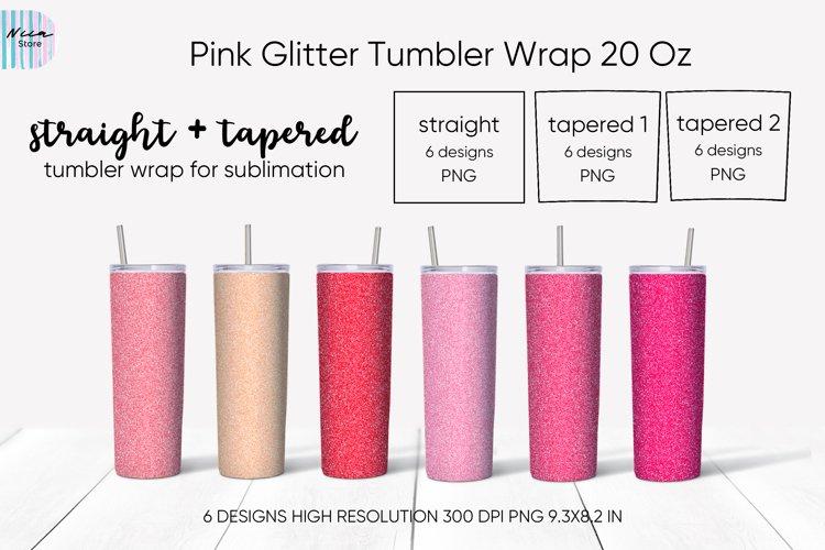 Skinny Tumbler Sublimation Bundle Pink Glitter Background
