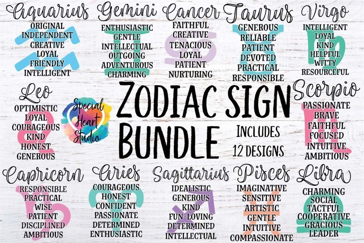Zodiac Sign Bundle - A collection of 12 Zodiac SVG Cut Files