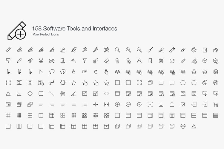 Software Tools UI User Interfaces Pixel Perfect Icons