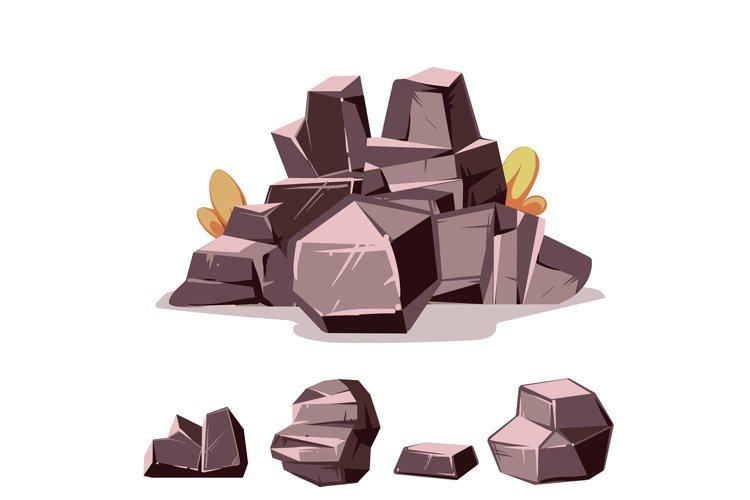 Set of rocks. Cartoon isometric 3d flat style example image 1