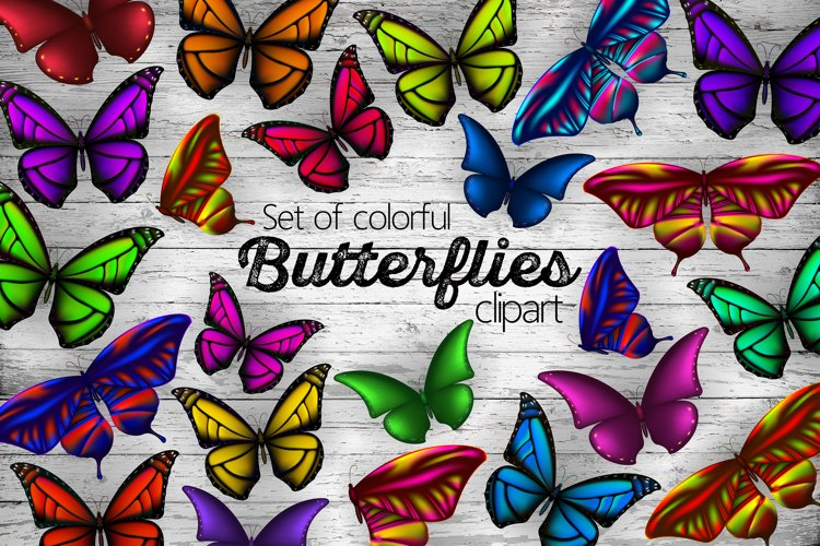Set of colorful butterflies clipart example image 1