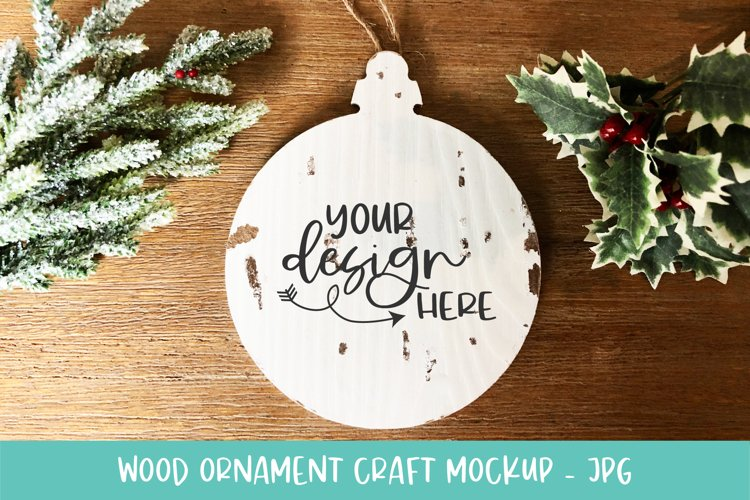 White Round Wood Slice Ornament Mockup for Crafters example image 1