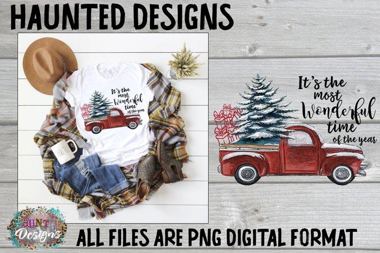 Red Christmas Truck Clip Art Design