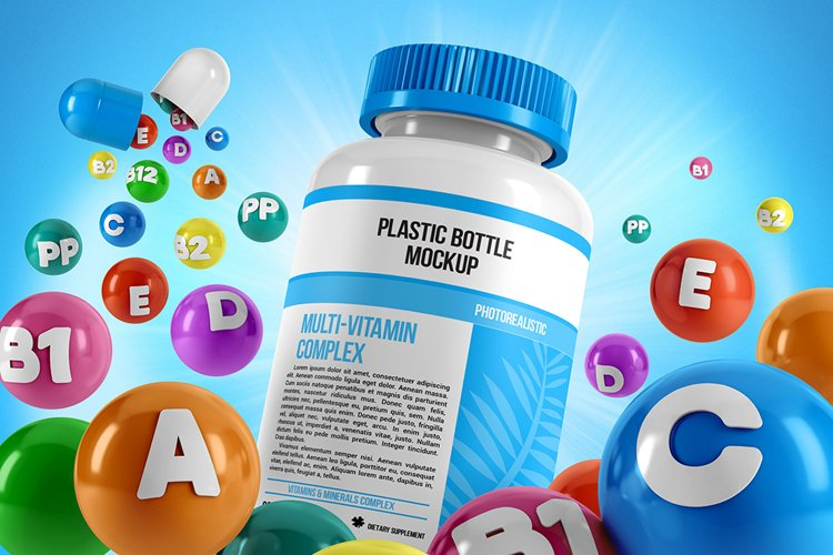Plastic Pill Bottle With Colorful Vitamins Mockup example image 1