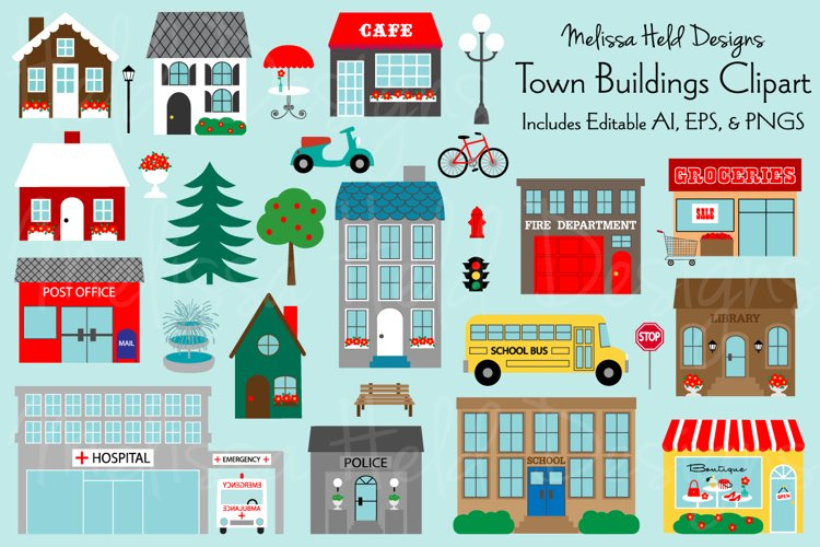 Town Buildings Clipart example image 1