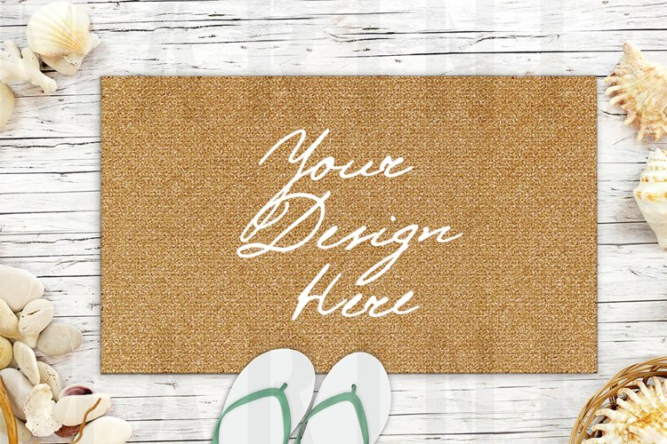 Summer Doormat Mockup, Vacation front door mat mockup 1201