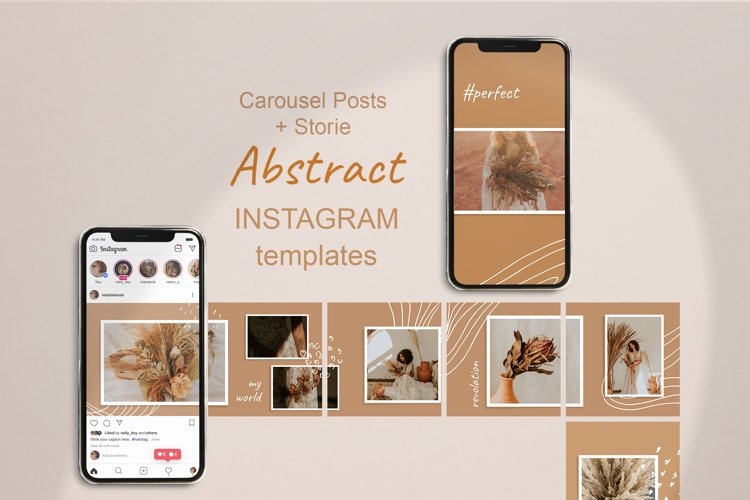 Carousel Posts Feed and Stories. Abstract Instagram Template example image 1