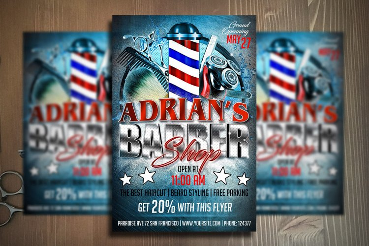 BARBER SHOP FLYER Template   Photoshop Template example image 1