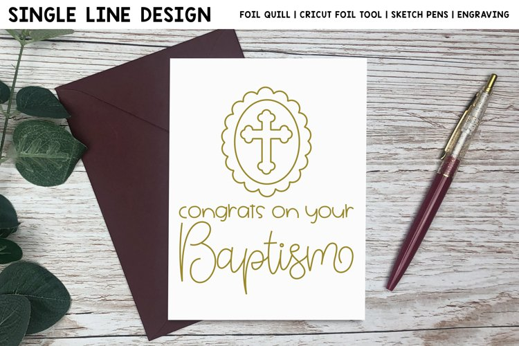 Congrats On Your Baptism Single Line Design For Foil Quill