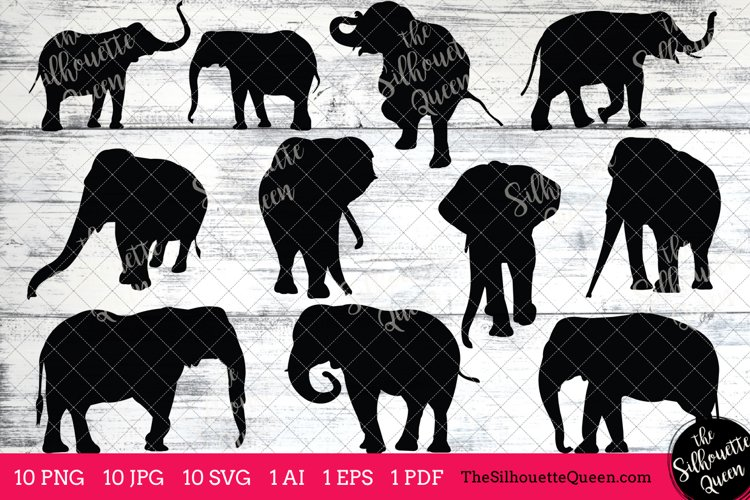 Elephant Silhouettes Clipart Clip Art(AI, EPS, SVGs, JPGs, PNGs, PDF) , Elephant Clip Art Clipart Vectors - Commercial and Personal Use
