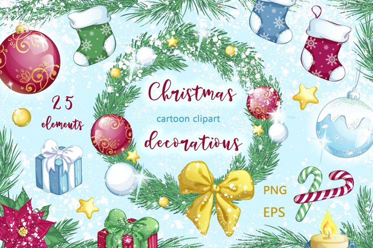 Christmas decorations. Stickers, patterns, compositions. example image 1