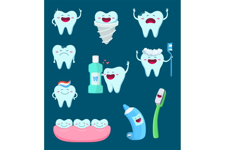 Vector characters set of funny teeth and toothbrush. Cartoon example image 1