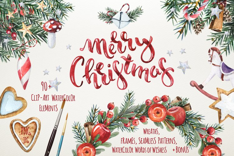 Magic Christmas set. Watercolor clipart collection