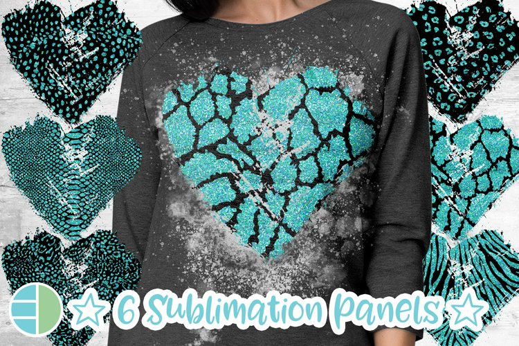 Animal Print Black and Teal Glitter Heart Distressed Heart example image 1