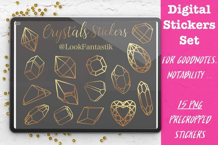 Gold Crystals Digital Sticker Set For GoodNotes Planner example image 1