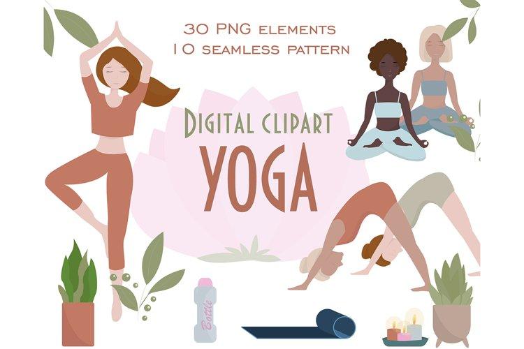 Digital yoga clipart, Yoga clipart PNG,