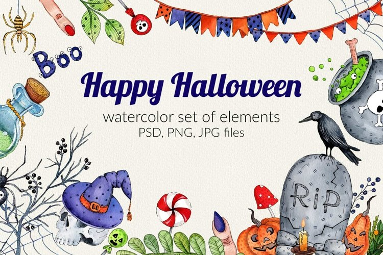 Watercolor set for Halloween example image 1