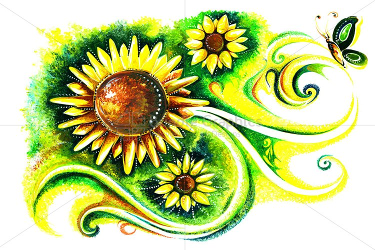 Flora Fauna - Abstract Painting of Sunflower  example image 1