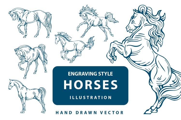 Hand drawn horse illustrations set.
