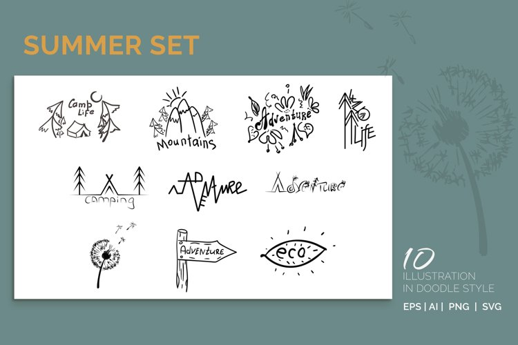 Summer set. 10 illustration in doodle style example image 1