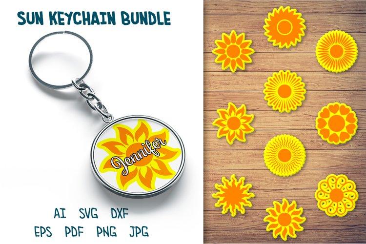 Sun Keychain SVG, Circle Keychain SVG, Round Keychain Bundle example image 1