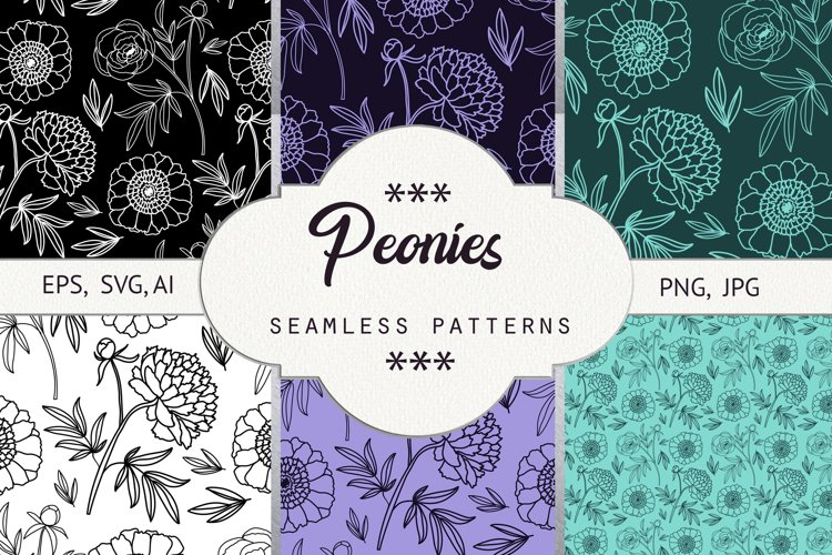 Peonies. Seamless patterns example image 1