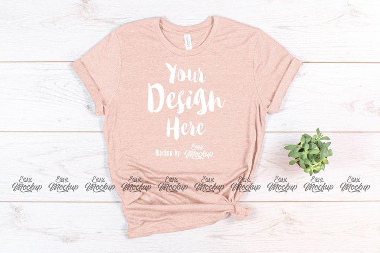 Heather Peach Bella Canvas 3001 T Shirt Mockup example image 1