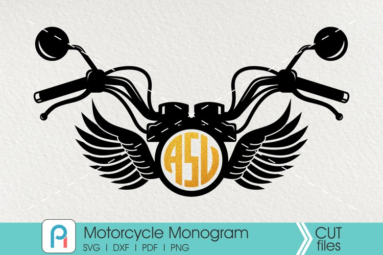 Motorcycle Monogram Cut File - a motorcycle vector example image 1
