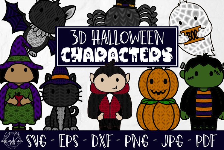 3D Halloween Characters, Layered Halloween SVG, DXF, Cat example image 1