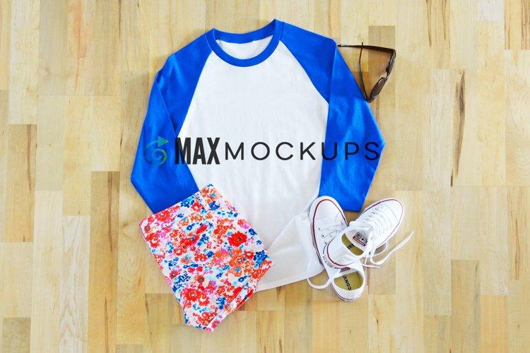 White and Blue Raglan Baseball Shirt Mockup, Summer Shorts