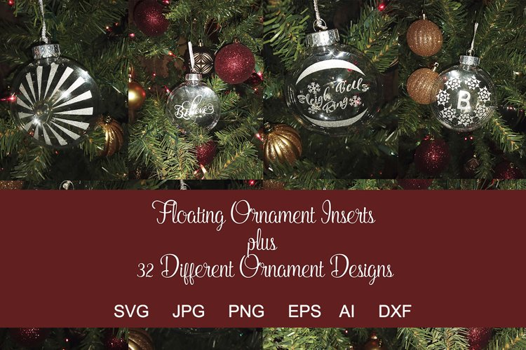 Floating Ornament Inserts Plus 32 Holiday Designs SVGs