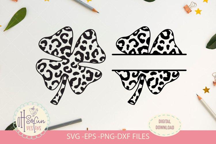 Animal print shamrock, split monogram shamrock SVG file